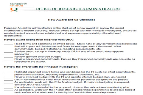 New Award Setup Checklist