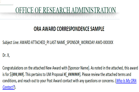 ora award correspondence sample