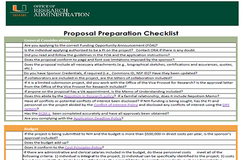 Proposal Preparation Checklist